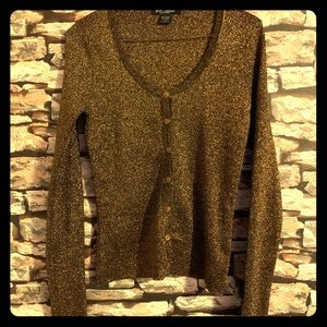 Betsy Johnson Gold Metallic Lightweight Cardigan
